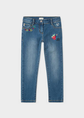 Paul Smith Girls' 2-6 Years Indigo Embroidered Stretch-Jeans