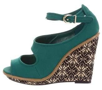 Lela Rose Peep-Toe Ankle Strap Wedges