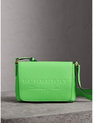 Burberry Small Embossed Neon Leather Messenger Bag