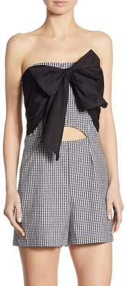 Scripted Women's Gingham Bow Front Romper - Black-white, Size l