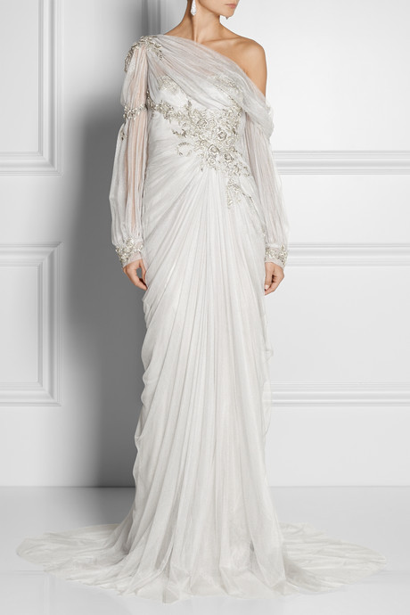Marchesa Embellished off-the-shoulder tulle gown