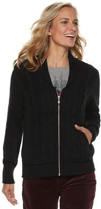 Croft & Barrow Women's Cable-Knit Zip-Front Cardigan
