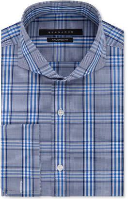 Sean John Men's Classic/Regular Fit Blue Check French Cuff Dress Shirt
