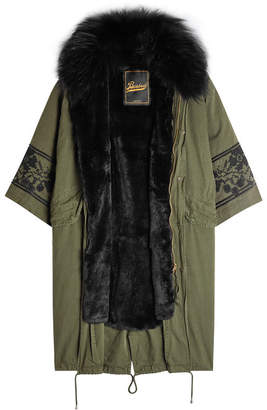 Barbed Embroidered Cotton Parka with Fur