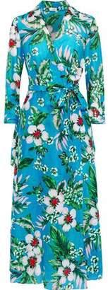 Diane von Furstenberg West Floral-print Cotton And Silk-blend Midi Wrap Dress