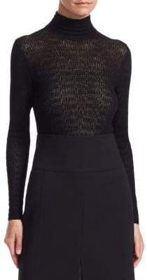 Akris Cashmere Silk Lace Mockneck Top