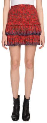 Etoile Isabel Marant Naomi Floral Eyelet-Trim Mini Skirt