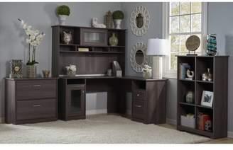 Hillsdale Red Barrel Studio L-Shape Desk with Hutch, 6 Cube Bookcase and Lateral File