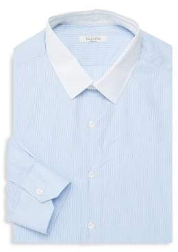 Valentino Contrast-Collar Striped Dress Shirt