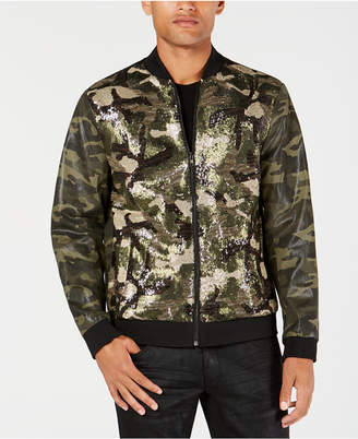 INC International Concepts I.n.c. Men's Sequined Camo Bomber Jacket