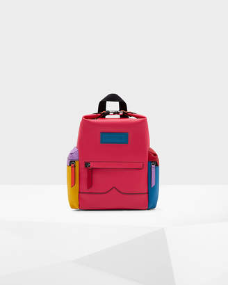 Hunter Color Block Top Clip Rubberised Leather Backpack