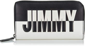 Jimmy Choo CARNABY Black and White Bicolour Travel Wallet with Embossed Logo