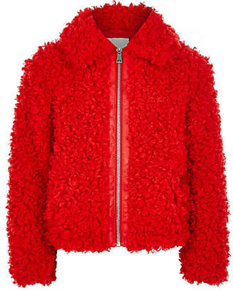 River Island Girls red faux fur zip up jacket