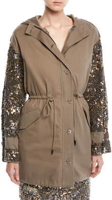 Joie Tadita Embellished-Sleeve Coat