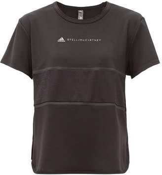 adidas by Stella McCartney Run Loose Mesh Insert Stretch Jersey T Shirt - Womens - Black