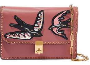 Valentino Rockstud Appliquéd Leather Shoulder Bag