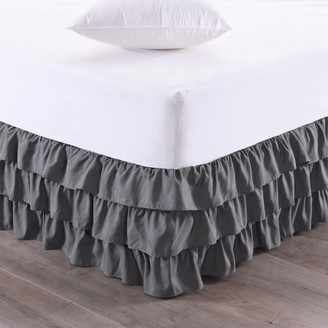 """Sweet Home Collection Waterfall 3-Layer Ruffled Bed skirt 14"""" Drop"""