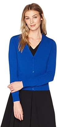 Lark & Ro Women's Button Down V-Neck Cropped Cardigan Sweater