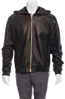 Giuseppe Zanotti Hooded Leather Bomber Jacket