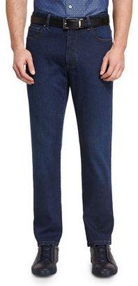 Ermenegildo Zegna Five-Pocket Regular-Fit Stretch-Denim Jeans, Blue $425 thestylecure.com