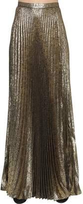 Saint Laurent Plisse Lurex Jacquard Long Skirt