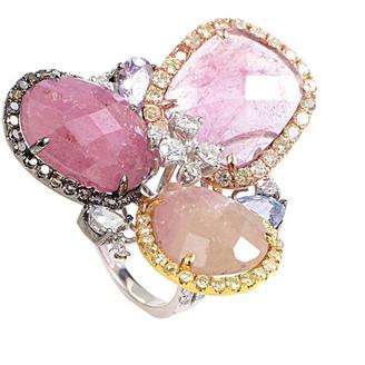 Generic Gemstones 18K Tri-Color 1.87 Ct. Tw. Diamond & Quartz Ring