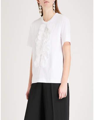 Simone Rocha Frilled-detail cotton T-shirt