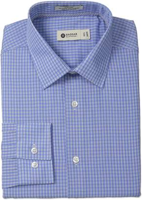 Haggar Men's Check Point Collar Regular Fit Long Sleeve Dress Shirt
