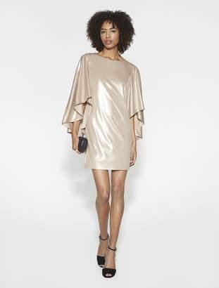 Halston Flowy Sleeves Metallic Jersey Dress