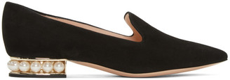 Nicholas Kirkwood Black Suede Casati Pearl Loafers $650 thestylecure.com