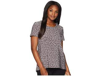 Anne Klein High-Low Short Sleeve Shirt - Dot Print Ity Women's Clothing