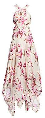 Zimmermann Women's Corsage Orchid-Print Linen Silk Maxi Dress