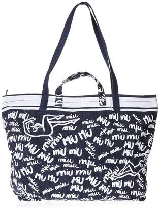 Miu Miu All Over Logo Brand Bag In Denim