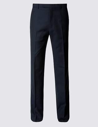 Marks and Spencer Navy Herringbone Slim Fit Trousers