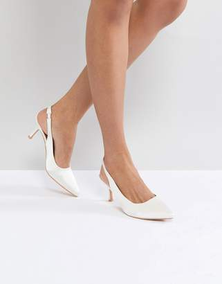 True Decadence White Satin Kitten Heeled Sling Back Shoes
