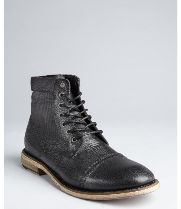 Kenneth Cole Reaction black leather and canvas 'Craft Master' lace up boots