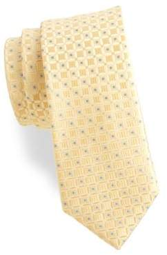 Black & Brown Black Brown Geometric Silk Tie