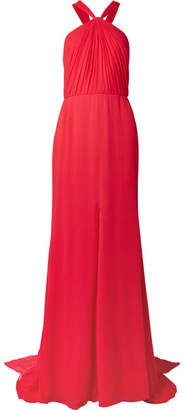 Oscar de la Renta Draped Silk-crepon Halterneck Gown - Red