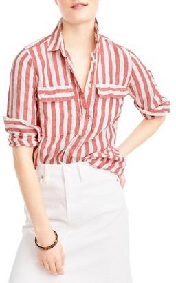 Women's J.crew Wexel Stripe Linen Shirt $88 thestylecure.com