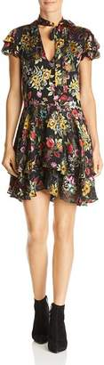 Alice + Olivia Moore Floral Burnout Tie-Neck Tunic Dress