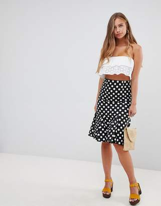 Gilli polka dot midi skirt with flare hem