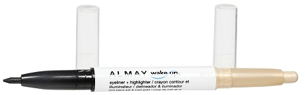Almay Wake Up Eyeliner + Highlighter Automatic Pencil Black Jolt / Iced Gold