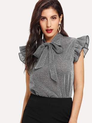d8b83df1a8d3c Shein Ruffle Embellished Tied Neck Glitter Blouse