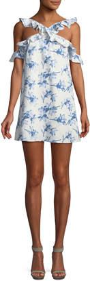 J.o.a. Halter-Neck Cold-Shoulder Mini Dress