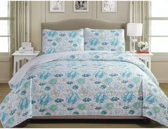 Panama Jack Fish 100% Cotton 3 Piece Reversible Quilt Set