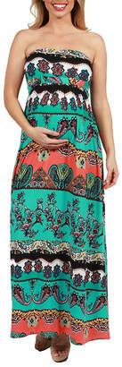24/7 Comfort Apparel 24Seven Comfort Apparel Bethany Strapless Empire Waist Maternity Maxi Dress
