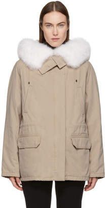 Yves Salomon Army Army Pink Classic Short Fur-Lined Parka
