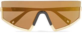 Westward Leaning Stun D-frame Gold-tone And Matte-acetate Sunglasses - Bronze