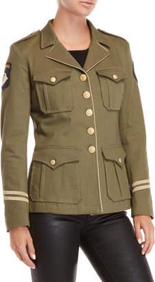 History Repeats Metallic Trim Military Jacket