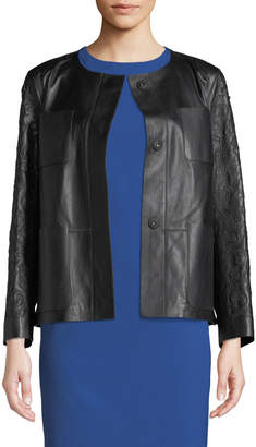 Lafayette 148 New York Holland Collarless Laser-Cut Leather Jacket